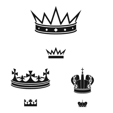 Isolated object of king and majestic symbol. Set of king and gold vector icon for stock. Çizim