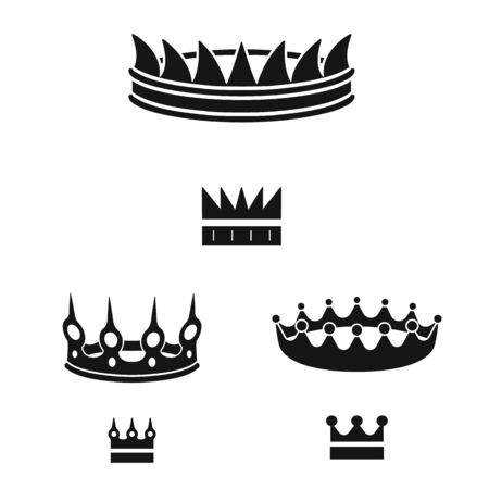 Vector design of king and majestic icon. Set of king and gold vector icon for stock.