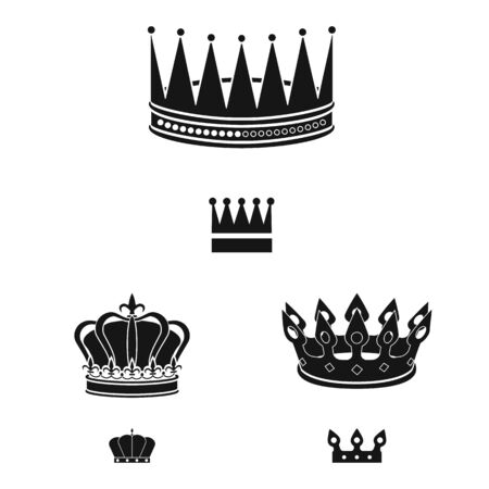 Vector design of king and majestic sign. Collection of king and gold stock vector illustration. Çizim