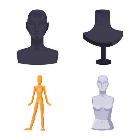 Vector illustration of mannequin and fashion logo. Set of mannequin and form vector icon for stock. Illustration