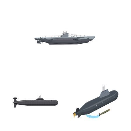 Isolated object of boat and navy icon. Set of boat and deep vector icon for stock.  イラスト・ベクター素材