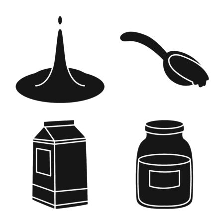 Vector design of ingredient and organic symbol. Collection of ingredient and dairy vector icon for stock.