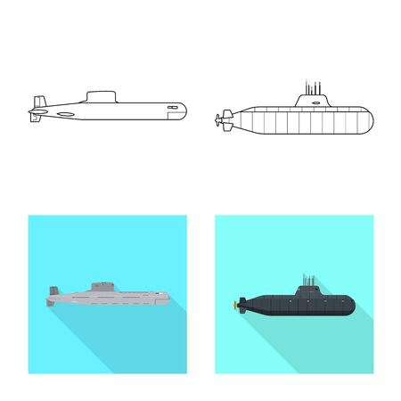 Isolated object of war and ship icon. Collection of war and fleet stock vector illustration.