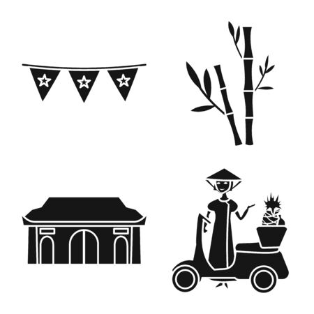 Isolated object of vietnam and traditional symbol. Collection of vietnam and exotic vector icon for stock.