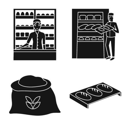 Vector design of bakery and natural sign. Set of bakery and product vector icon for stock.