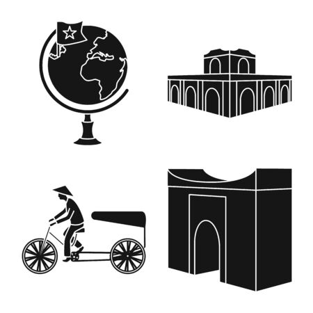Vector design of travel and country icon. Set of travel and national stock vector illustration.