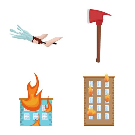 Isolated object of firefighters and fire icon. Collection of firefighters and equipment stock vector illustration.