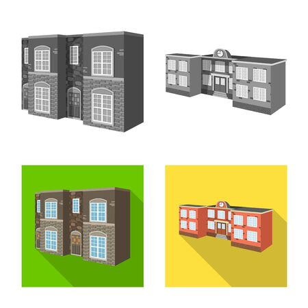 Vector illustration of facade and housing sign. Collection of facade and infrastructure vector icon for stock. Illusztráció