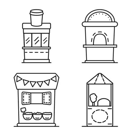 Isolated object of vending and public icon. Collection of vending and storefront stock vector illustration.