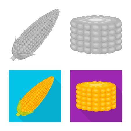 Vector design of cornfield and vegetable icon. Set of cornfield and vegetarian stock symbol for web. Ilustração
