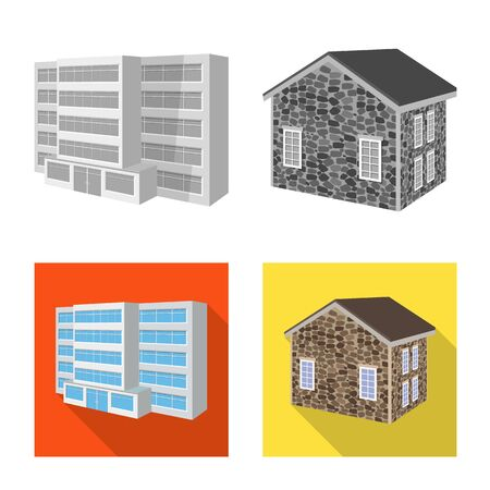 Vector illustration of facade and housing icon. Collection of facade and infrastructure stock symbol for web.