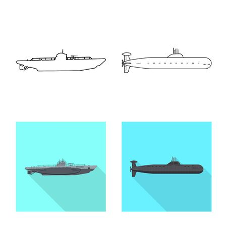 Vector design of war and ship symbol. Set of war and fleet stock symbol for web.  イラスト・ベクター素材