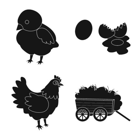 Vector illustration of harvest and farming sign. Collection of harvest and poultry stock symbol for web.