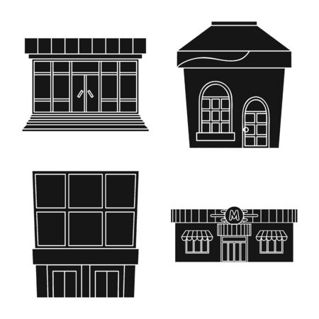 Vector design of supermarket and building icon. Set of supermarket and commercial stock symbol for web. Stock Illustratie