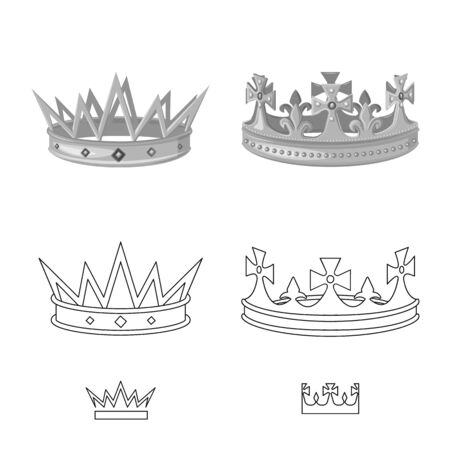 Vector illustration of medieval and nobility logo. Collection of medieval and monarchy stock vector illustration.