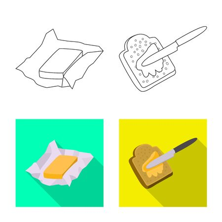 Vector design of creamy and product icon. Collection of creamy and farm vector icon for stock.