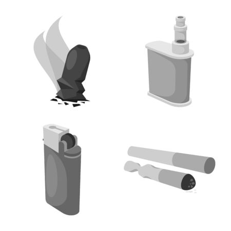 Isolated object of equipment and smoking sign. Set of equipment and harm vector icon for stock.