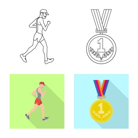 Isolated object of sport and winner icon. Set of sport and fitness stock vector illustration.