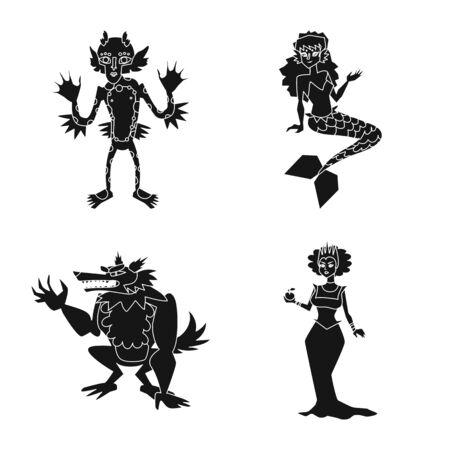 Vector design of creature and devilry symbol. Set of creature and halloween stock symbol for web.