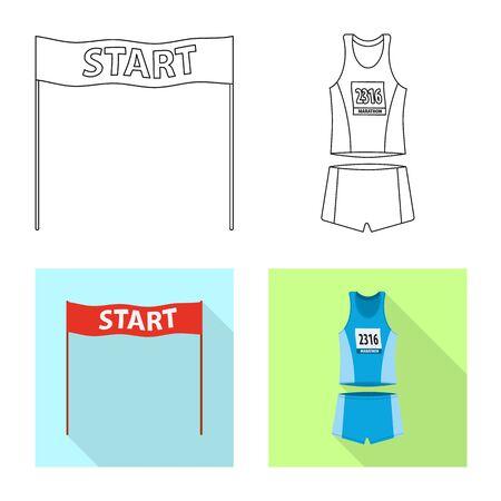 Vector illustration of sport and winner sign. Set of sport and fitness stock vector illustration.