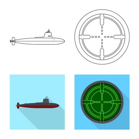 Vector design of war and ship symbol. Set of war and fleet stock vector illustration.