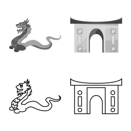 Isolated object of travel and country icon. Collection of travel and asia vector icon for stock.