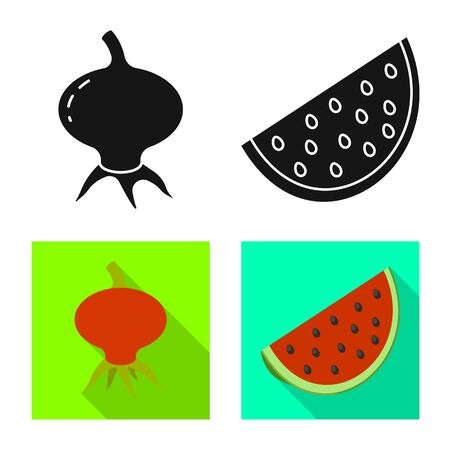 Vector illustration of fresh and red symbol. Set of fresh and organic stock vector illustration.
