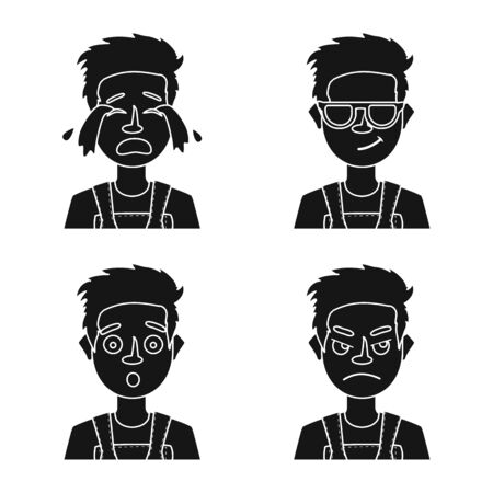 Vector illustration of face and boy icon. Set of face and young vector icon for stock.