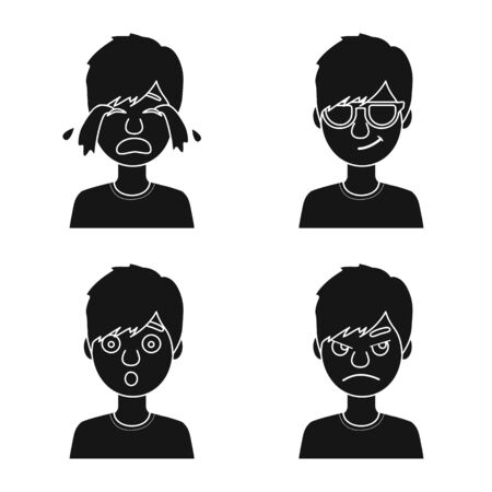 Vector illustration of face and boy symbol. Collection of face and young stock vector illustration.