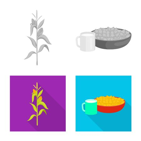 Vector design of cornfield and vegetable symbol. Collection of cornfield and vegetarian vector icon for stock.