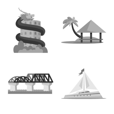 Vector illustration of traditional and tourism symbol. Set of traditional and exotic vector icon for stock.