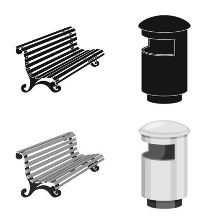 Isolated object of urban and street symbol. Set of urban and relaxation stock symbol for web.