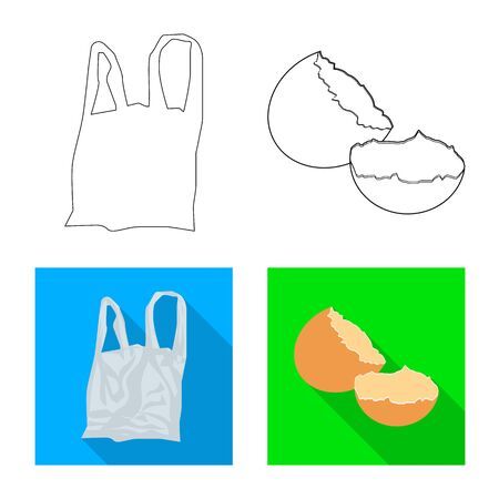 Vector illustration of refuse and junk symbol. Set of refuse and waste vector icon for stock.