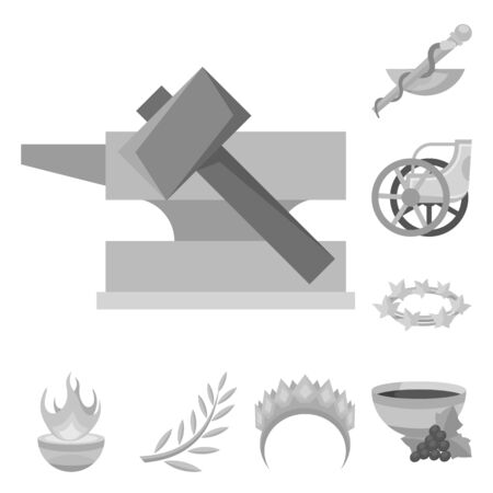 Vector design of ancient and culture icon. Set of ancient and antique stock vector illustration. Illustration