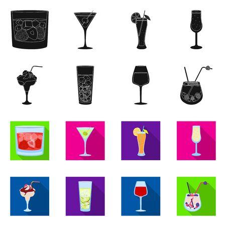 Vector illustration of liquor and restaurant. Collection of liquor and ingredient vector icon for stock.