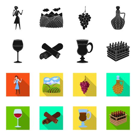 Vector design of farm and vineyard. Set of farm and product stock symbol for web. Ilustração