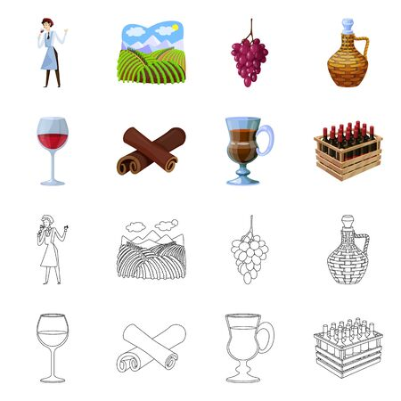Vector illustration of farm and vineyard symbol. Set of farm and product stock symbol for web.