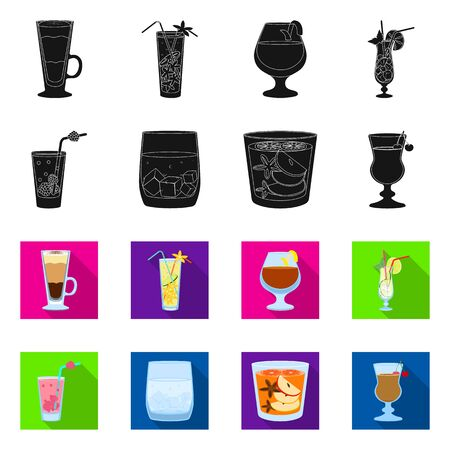 Vector illustration of liquor and restaurant icon. Set of liquor and ingredient vector icon for stock. Çizim