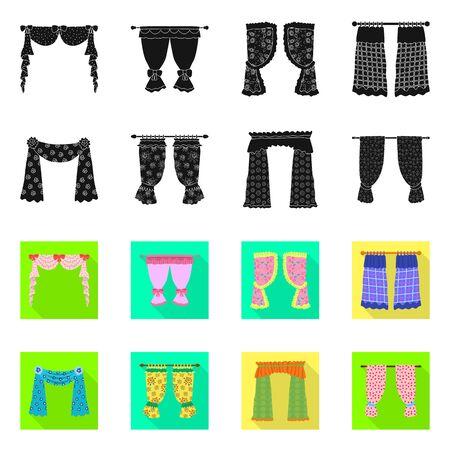 Vector illustration of curtains and drapes symbol. Set of curtains and blinds vector icon for stock. Иллюстрация