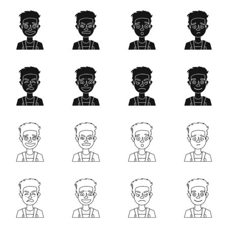 Vector design of face and boy sign. Set of face and expression vector icon for stock. 向量圖像