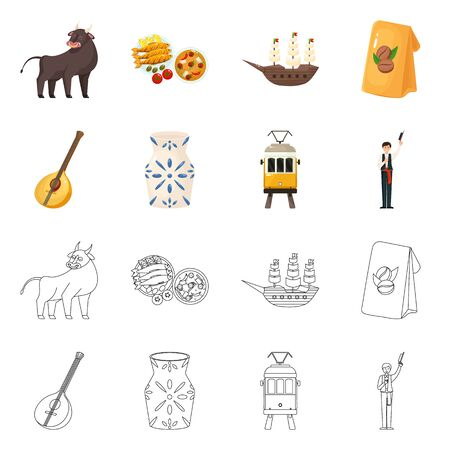 Isolated object of and historic. Collection of and country stock symbol for web. Stock Illustratie
