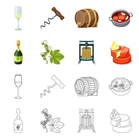 Isolated object of farm and vineyard sign. Set of farm and product stock vector illustration. Ilustração