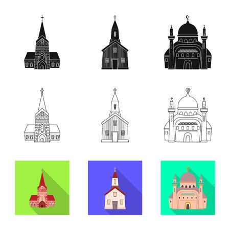 Isolated object of cult and temple. Set of cult and parish vector icon for stock.