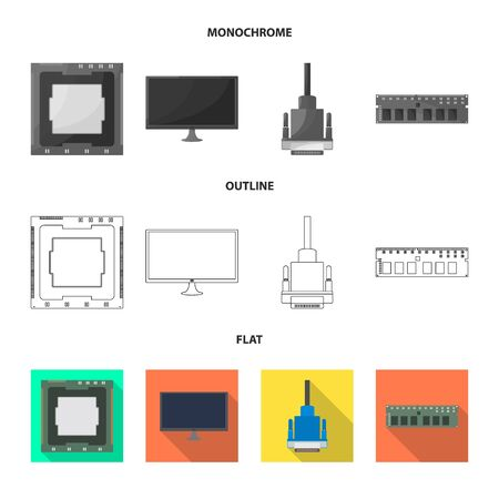 Vector design of accessories and device logo. Collection of accessories and electronics vector icon for stock. Ilustração
