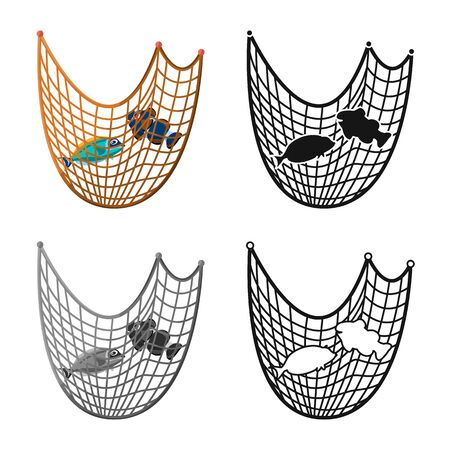 Vector design of fishnet and fishing. Collection of fishnet and fish vector icon for stock. Illustration
