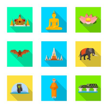 Isolated object of journey and exotic icon. Set of journey and national vector icon for stock.