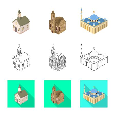 Vector illustration of temple and historic. Collection of temple and faith stock vector illustration. Illustration