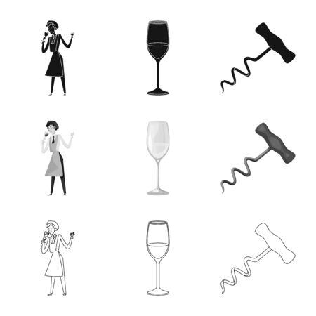 Vector illustration of farm and vineyard logo. Collection of farm and product stock vector illustration.