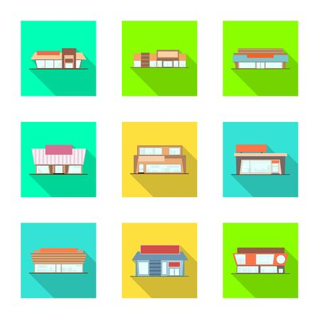 Vector illustration of boutique and construction symbol. Set of boutique and cityscape stock vector illustration. Illustration