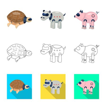Vector illustration of toy and science icon. Collection of toy and toy vector icon for stock. Ilustração